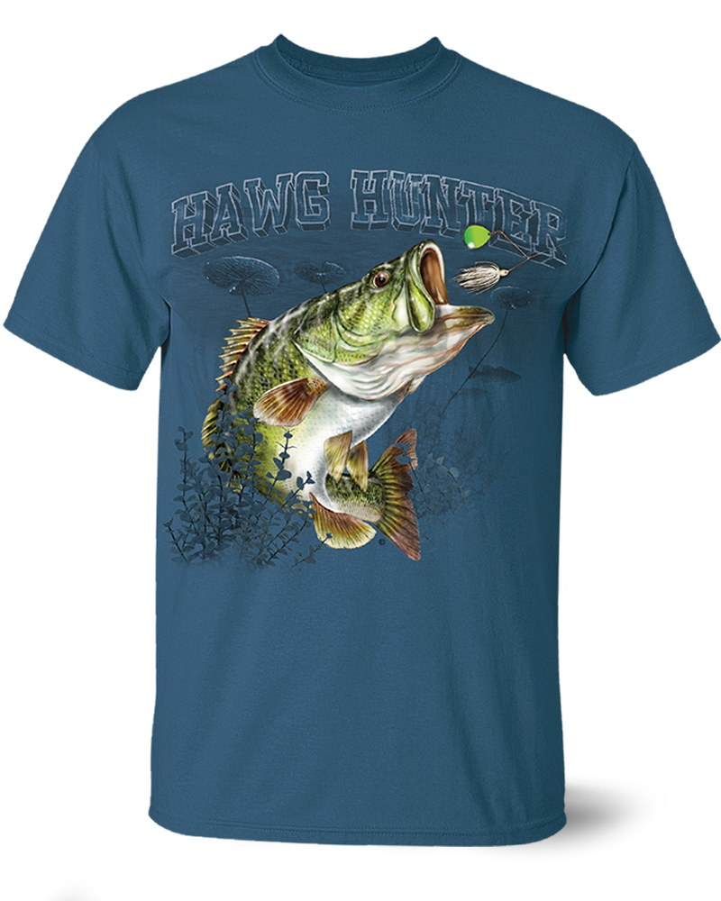 Largemouth bass hawg hunter full front design short for Bass fishing t shirts