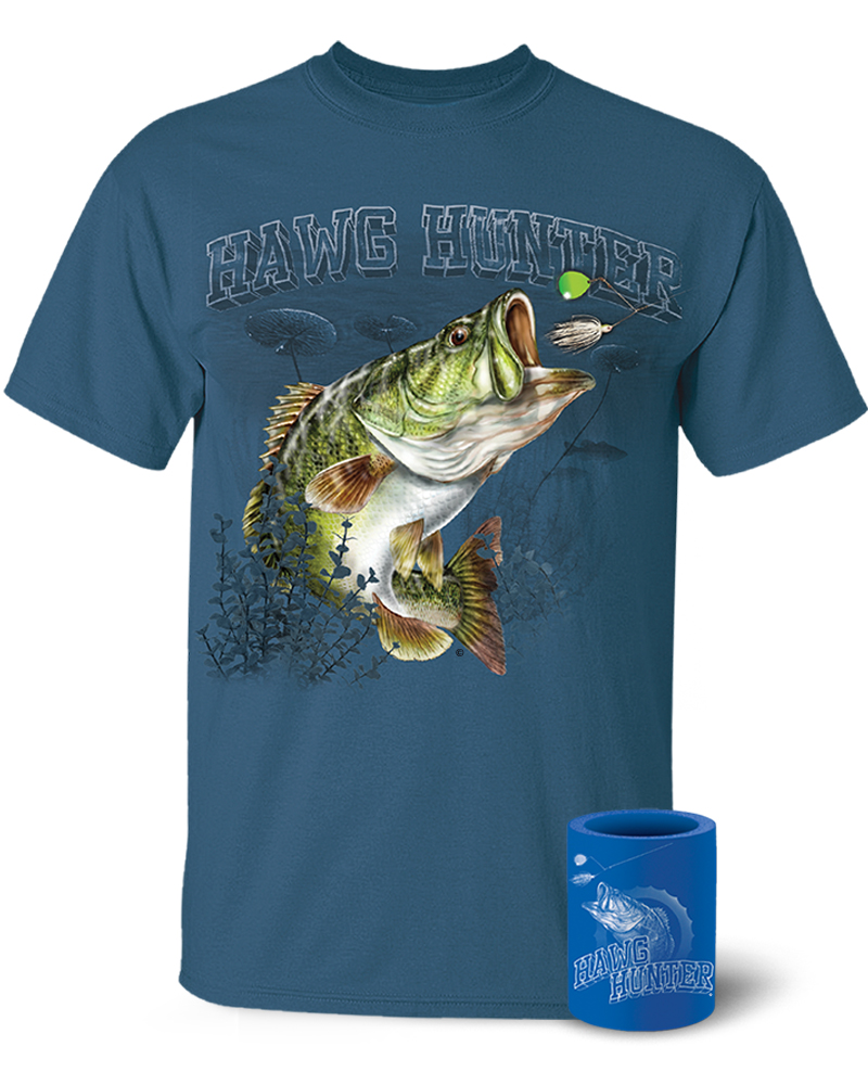 Follow the action largemouth bass hawg hunter t shirt for Shirts and apparel koozie