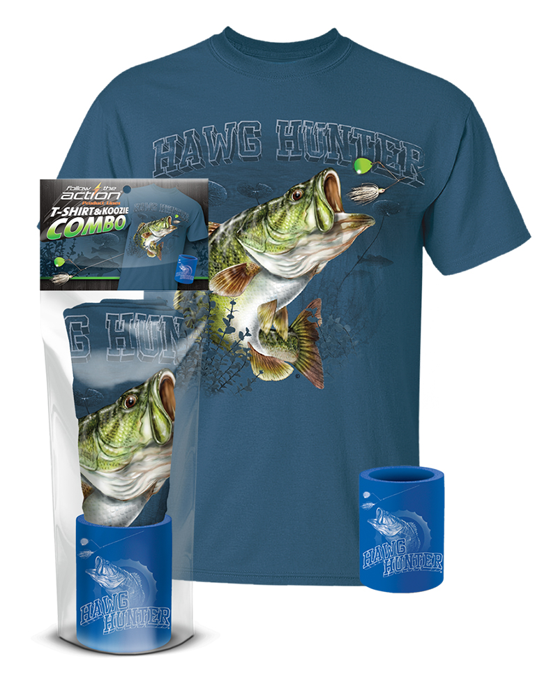 Largemouth bass hawg hunter t shirt and koozie combo for Shirts and apparel koozie