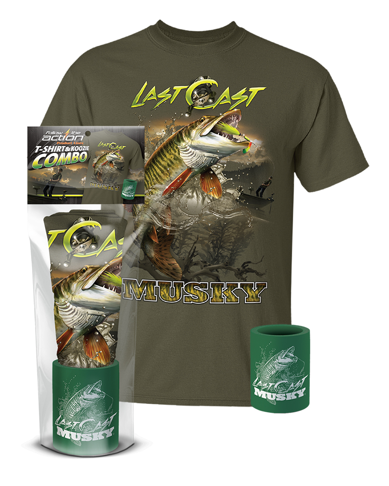 Musky last cast t shirt and koozie combo gift set for Shirts and apparel koozie