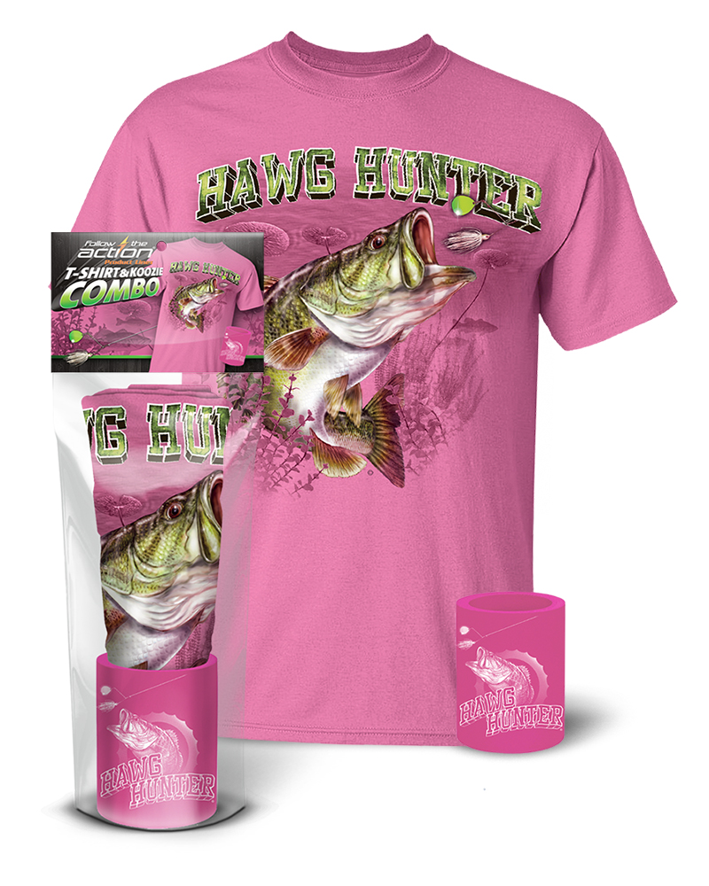 Follow the action largemouth bass hawg hunter pink t for Shirts and apparel koozie