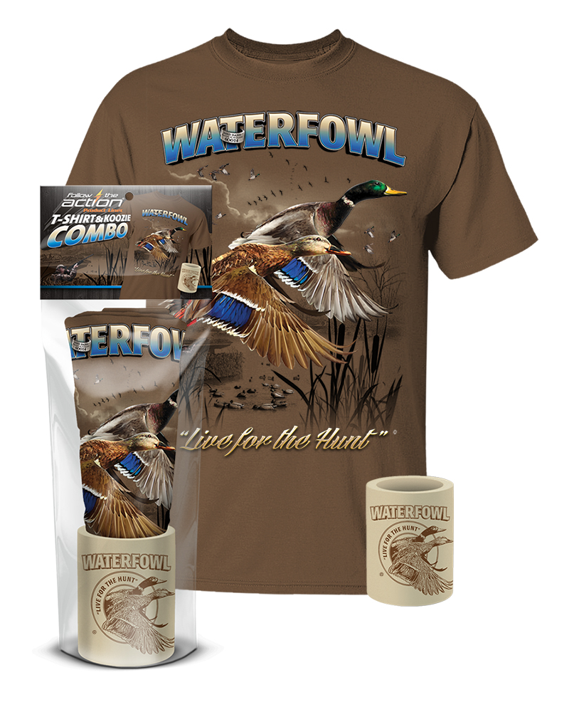 Waterfowl duck t shirt and koozie combo gift set for Shirts and apparel koozie