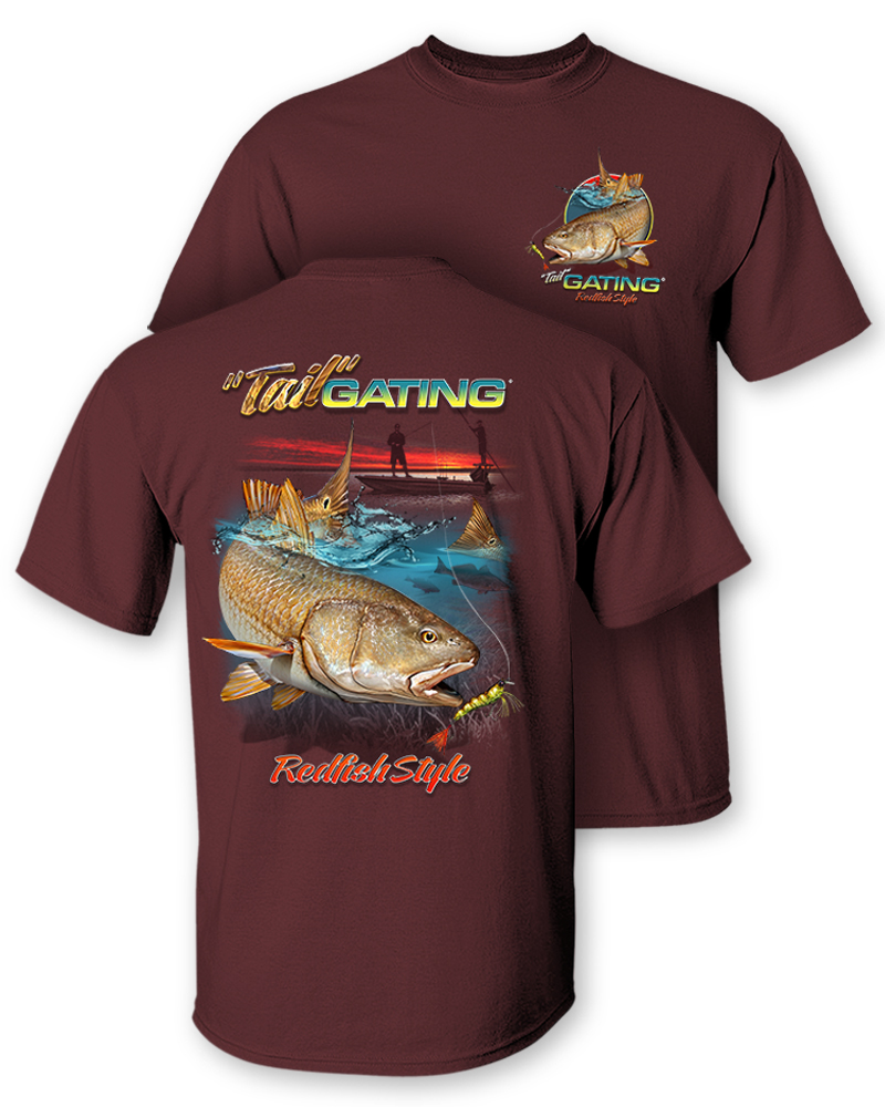 """Follow the Action® Redfish /""""Tail/"""" Gating Two-Sided Short Sleeve T-Shirt"""
